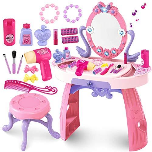 Ramingt-Toy Juego de tocador para niñas Juguete de inducción Dresser Light Music Dresser Juegos for niños Juguete de la casa niña de Maquillaje Vector Y Silla for niños Maquillaje Desk