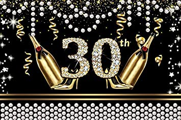 YongFoto 12x10ft Birthday Backdrop Happy 30th Birthday Diamonds Champagne High Heel Photography Background Party Theme Cake Table Banner Decoration Portrait Photo Studio Wall Vinyl Poster