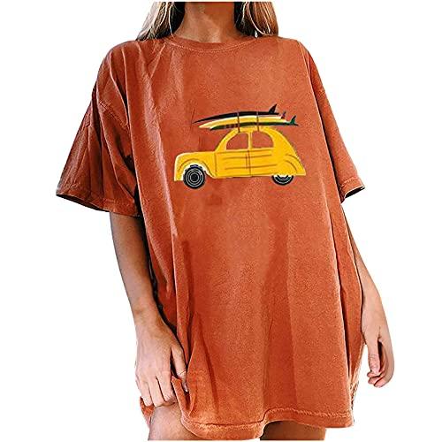 Camiseta de verano para mujer con costuras de hilado, tallas grandes, bordada, color con cuello redondo, estampado retro, manga corta, ropa deportiva sexy, con base de encaje, temperamento. naranja XL