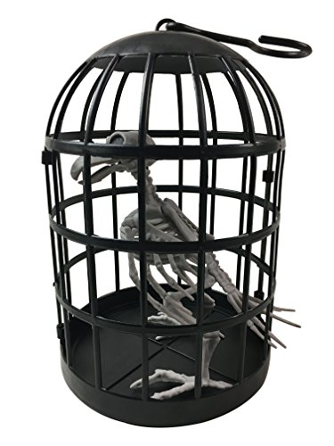 Plastic Bird Skeleton in Cage Halloween Decoration