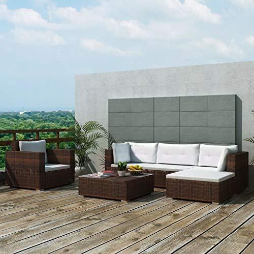 Ausla - Set di mobili da giardino, 6 pezzi, set di mobili in rattan sintetico, con cuscini di seduta e schienale per giardino o cortile, colore: marrone