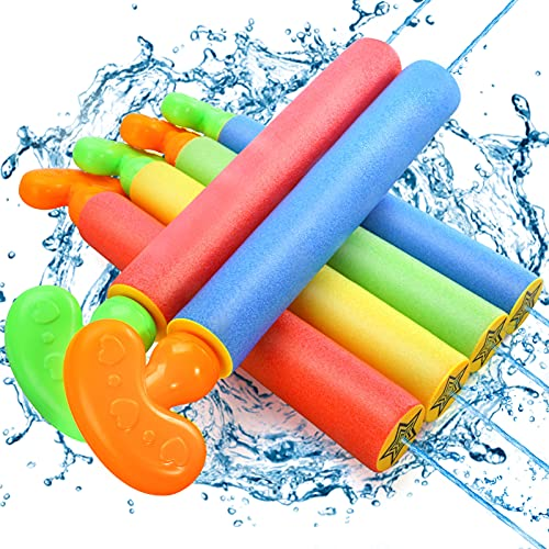 Lucky Doug 6 PCS Foam Squirt Guns Water Blaster Set, Water Guns Blaster Pool Toys for Kids Shooter...