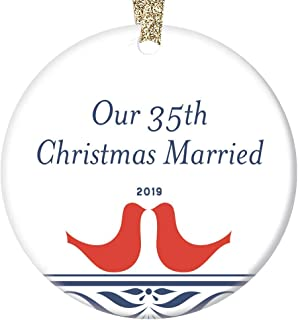 35th Anniversary Christmas Ornament 2019 Thirty-Five 35 Years Married Keepsake Wedding Memory Parents Grandparents Gift Husband Wife Couple Mr & Mrs Special Coral 3