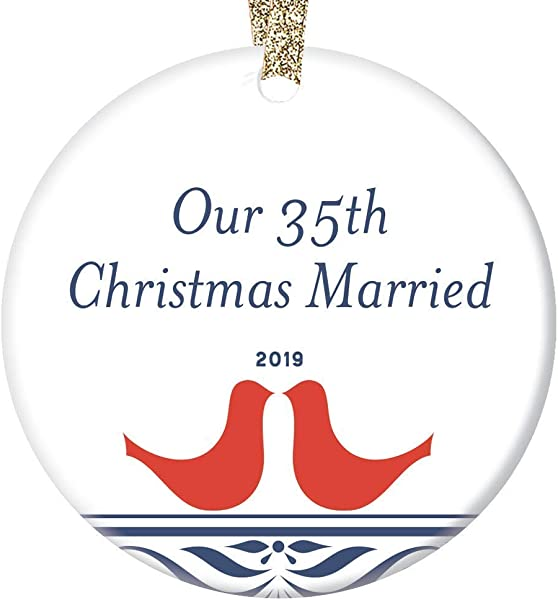 35th Anniversary Christmas Ornament 2019 Thirty Five 35 Years Married Keepsake Wedding Memory Parents Grandparents Gift Husband Wife Couple Mr Mrs Special Coral 3 Ceramic Holiday Tree Decoration