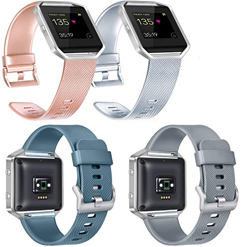 Vancle Replacement Bands Compatible with Fitbit Blaze, 4 Pack (Rose Gold, Silver, Slate, Gray, Large)
