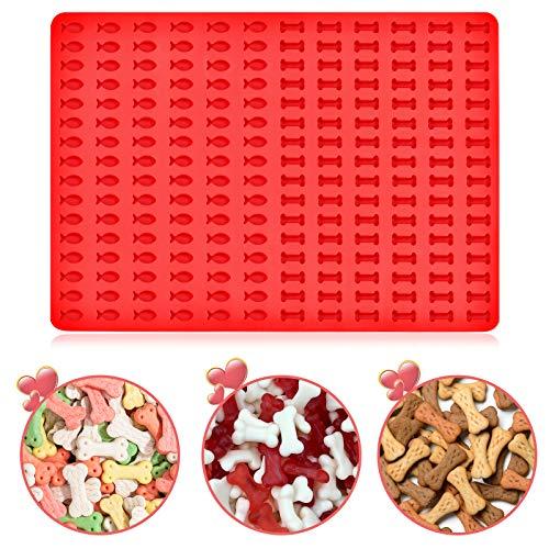 KATELUO Backmatte Silikon,Silikon Backform Mini Herz Silikonmatte, Backmatte für Hundekekse Hundeleckerlies, Backpapier, Backunterlage, Pralinenform (Rot-C)