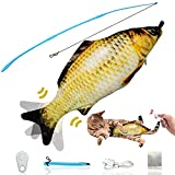 ZJLZPB Remote Control Floppy Fish Cat Toy, 2021 Upgrade Electric Flopping Fish Dog Toy, Plush Interactive Cat Toys, Catnip Toys for Pet Exercise, Wiggle Fish Includes Fishing Pole and Remote Control