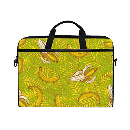 EZIOLY Palm Leaves And Bananas Laptop Shoulder Messenger Bag Case Sleeve for 13 Inch to 14 inch Laptop