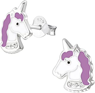 Cute Purple Unicorn Face Studs Earrings Crystals 925 Stering Silver (E32011)