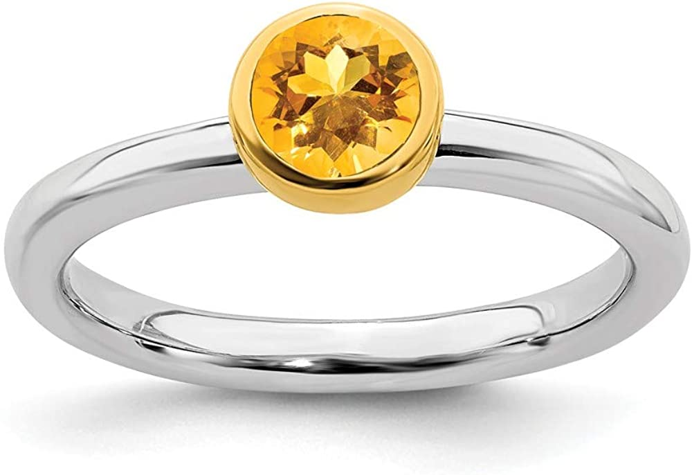 Solid 925 Sterling Silver Stackable Gold-plate Citrine No El Paso Mall Yellow Max 78% OFF