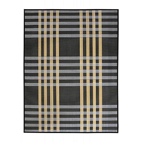 Alfombra de Salón o Comedor, Negra, con Rayas Blancas y Amarillas, de Bambú Natural, 180 X 140cm, Natur 180x140 - Hogar y Más