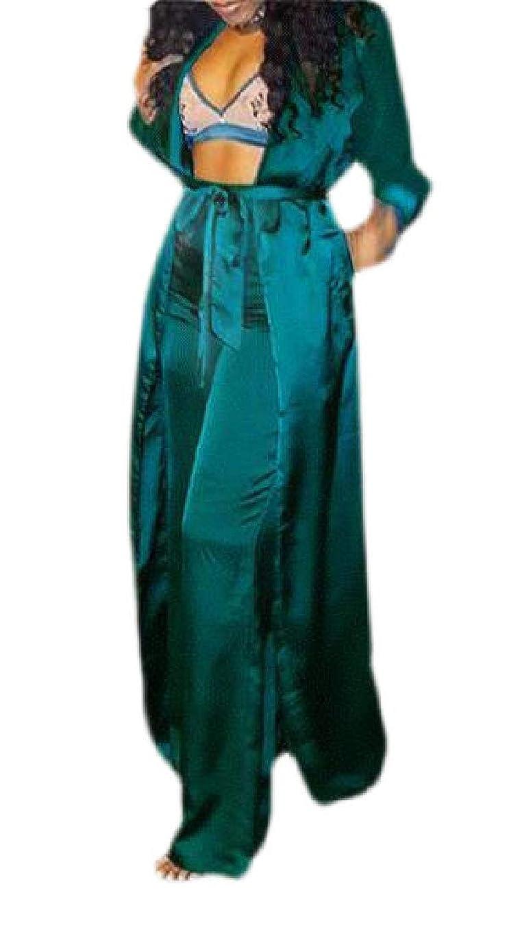 スパイラル郵便屋さん不潔Womens Sexy 2 Piece Outfits Long Sleeve Open Front Kimono Cardigan and Pants