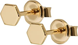 Women's Essentielle Gold Plated Sterling Silver Hexagon Stud Earrings CLJ51006