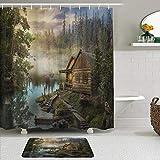 MTevocon Duschvorhang Sets mit rutschfesten Teppichen,Natürliche Landschaft Lake House Holzhütte Kiefer im Zauberwald, Badematte + Duschvorhang mit 12 Haken