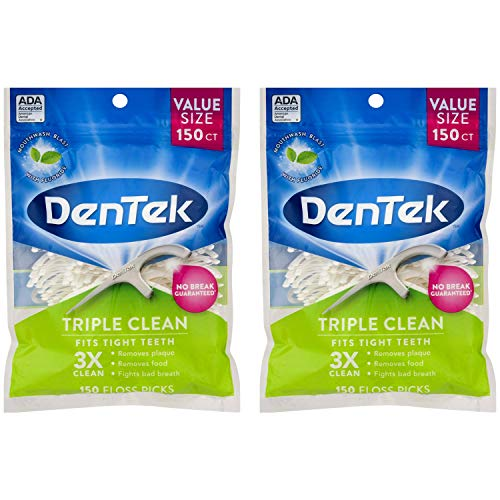 DenTek Triple Clean Floss Pick 3X Clean: Removes Plaque & Food and Fights Bad Breath, 150 Picks per pack (Pack of 2)