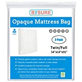 BYSURE 2-Pack 3 Mil Mattress Bag for Moving and Storage -Non-Transparent Mattress Sleeve Protecting Your Privacy, Fits Twin/Full Size