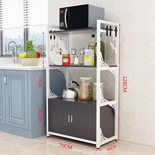 Kitchen furniture - Armoire de rangement au sol à la mode sculptée à la mode de support de four à micro-ondes de fleurs, crochets d'envoi WXP (Couleur : C, taille : 70X40X128CM)