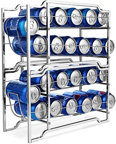 YOMYM Organizador Nevera Juego de 2 Cajas de almacenaje para Nevera y congelador Envases de Metal para Alimentos Prácticos contenedores de Metal para 24 latas(2 Piezas)