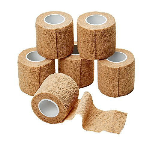 Vendas autoadhesivas cohesivas MEDca, 2 pulgadas x 5 yardas, 6 unidades, con cinta de primeros auxilios elástica y resistente para esguinces, inflamación y dolor en la muñeca y el tobillo