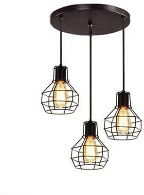 Amazon.com: OYI Lámpara de techo industrial, 3 luces, jaula ...