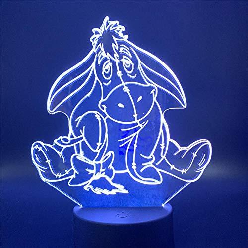 Lámpara de ilusión 3D Luz de noche LED Khapouchy Winnie Pooh Burro Decoración de dibujos animados Lámpara de dormitorio Niños Regalo festivo Iluminación Lámpara linda