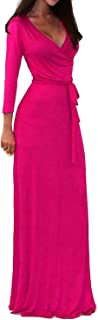 Women's USA Solid V-Neck 3/4 Sleeve Faux Wrap Waist Long Maxi Dress