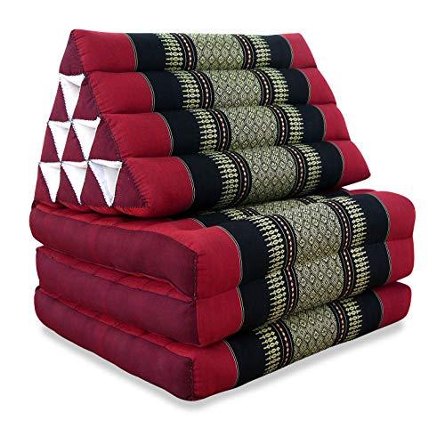 livasia Thaikissen mit 3 Auflagen, Kapok Dreieckskissen, Sitzkissen, Liegematte, Thaimatte (rot/schwarz)