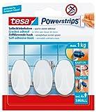 tesa Powerstrips Haken Small OVAL - Selbstklebender Wandhaken für Glas, Kacheln, Holz, Kunststoff und andere Untergründe - Weiß