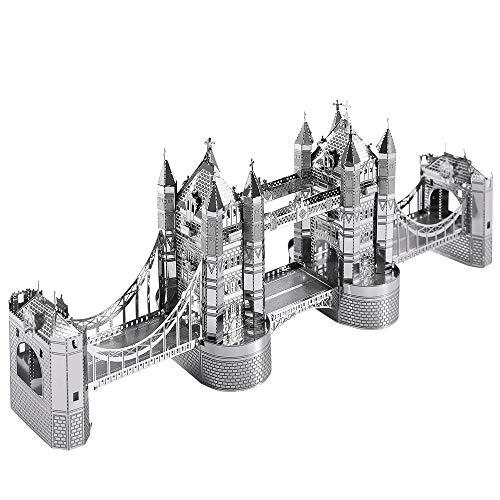 Piececool 3D-Laserschnitt aus Metall, weltweit berühmt, DIY, Modell, Puzzleteile für Erwachsene, 65 Stück (Silber)