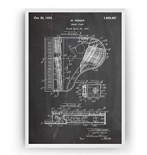 Konzertflügel 1928 Patent Poster - Grand Piano Giclee Print Art Kunst Wall Dekor Decor Entwurf Wandkunst Blueprint Geschenk Gift - Frame Not Included
