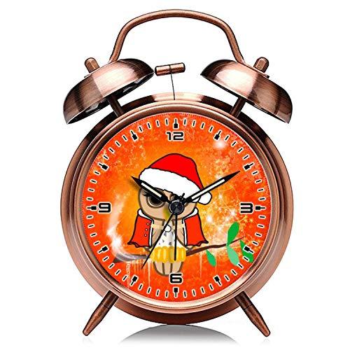 GIRLSIGHT Reloj de Navidad retro de cobre silencioso con luz de noche doble campana despertador 114.Christmas Owl con árbol de Navidad despertador