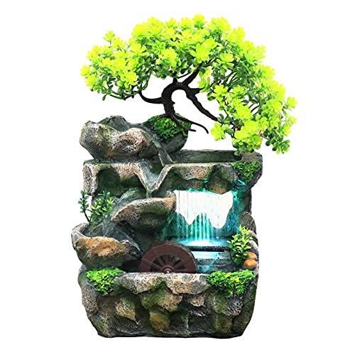 Fuente de mesa con agua que fluye, mini fuente de cascada silenciosa interior y al aire libre con efecto de lluvia colorido..