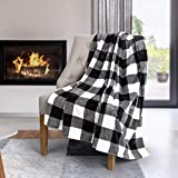 Safdie & Co. Flannel Printed Ribbed 48x60 White Plaid Ultra Soft Throw, Black - 65903.Z.06