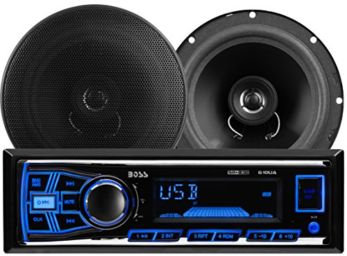 BOSS AUDIO 636CK audiopakket met 610UA single DIN AM/FM / MP3 / USB/SD-speler autoradio 200 Watt en een paar CK65 6.5 inch 2-weg full-range luidsprekers 250 Watt