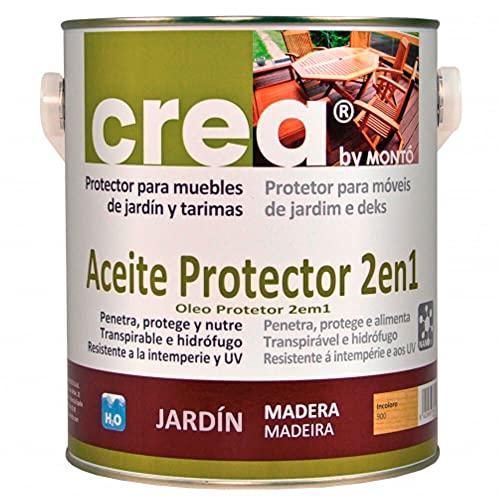 Aceite Protector al Agua para Maderas, Especialmente Tropicales. Penetra, Protege y Nutre la Madera. Aceite Protector 2 en 1 Gama Crea (500ml, Teca)