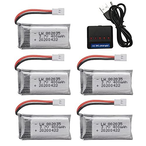 Batteria economica da 3,7 V 400 mAh Compatibile con H31 Compatibile con X4 Compatibile con H107 H6C KY101 E33C E33 U816A V252 RC Drone Pezzi di ricambio 802035 Batteria ricaricabile da 3,7 V