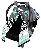 Dear Baby Gear Deluxe Car Seat Canopy, Reversible Custom Minky Print Black, Grey, Mint Moose, Aztec Minky