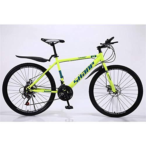 NOVOKART Mountain Bike Unisex, Bicicletas de Montaña 26 Pulgadas, para Hombre y Mujer MTB Bike con Asiento Ajustable, Freno de Doble Disco, Amarillo, Rueda de Radios, 21-Velocidad Cambio