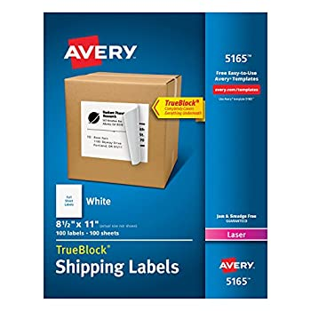 Avery Shipping Address Labels Laser Printers 100 Labels Full Sheet Labels Permanent Adhesive TrueBlock  5165  White