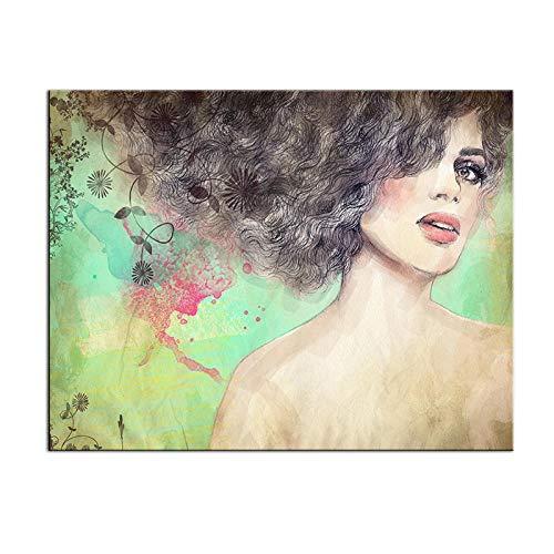 kldfig groot canvas pirnt schilderij Mooie vrouw gezicht portret muurkunst schilderij voor woonkamer en wooncultuur - 50x60cm niet ingelijst