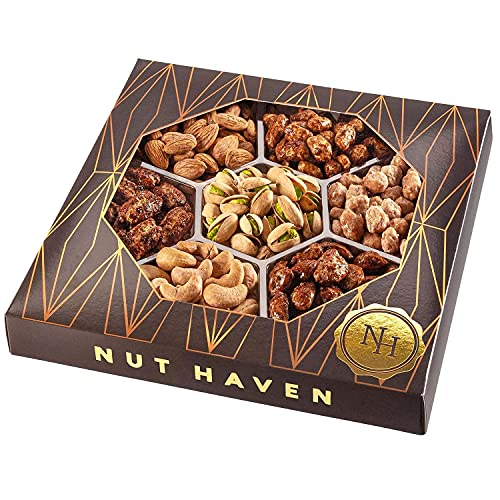 Nuts Gift Basket - Healthy Assortment of Sweet & Salty Dry Roasted Gourmet Nuts - Assorted Food Gift Box for Holiday Christmas, Thanksgiving, Fathers Day, Mothers Day, Family, Men and Women, Nut Haven