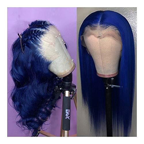 Femmes Perruques de cheveux humains Raides Bleu Pré plumé avec bébé Perruques Vierge brésilienne for les femmes pour les femmes Cosplay Party (Color :