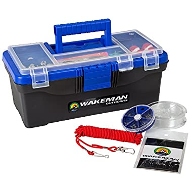 Wakeman Fishing Single Tray Tackle Box- 55 Piece Tackle Gear Kit Includes Sinkers, Hooks Lures Bobbers Swivels and Fishing Line Outdoors Blue