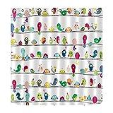 LB Duschvorhang für Kinder, niedlicher Vogel, bunter Tier Badezimmer Vorhang wasserdicht Schimmelresistent Polyester Stoff Bad Dekor Duschvorhang Set mit 12 Haken, 150Wx180H cm