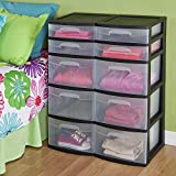 Sterilite 5 Storage Drawer Tower, 12.63 Inches, Pack of 2, Black, 2 Count