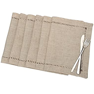 Handmade Hemstitched Table Placemats, Rectangle 12x18 Inch Set Of 6, Natural Color