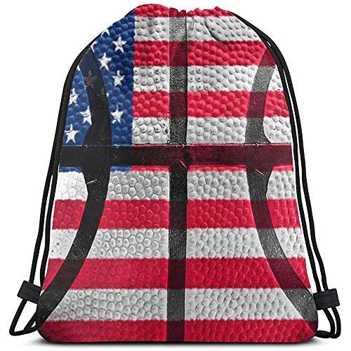NA Kordelzug Rucksack Retro Basketball American Flag Stars.JPEG 3D-Druck String Bag Sackpack Cinch Tragetaschen Geschenke für Frauen Männer Fitnessstudio Einkaufen