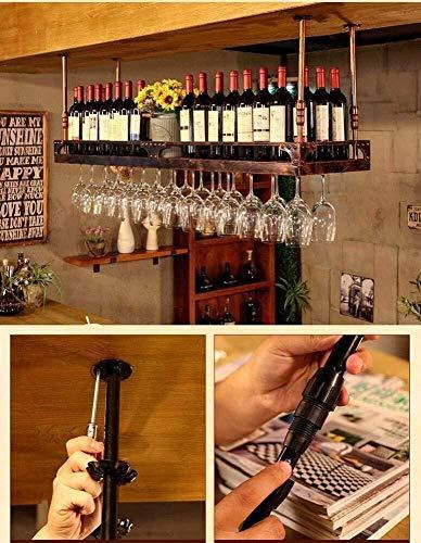 HJXSXHZ366 Estantería de Vino Techo Vino Estante botellero bastidores de Secado Que cuelgan del Techo de montaña Copa de Barra de la Cocina, Negro 80 * 35 cm Estante de Vino pequeño
