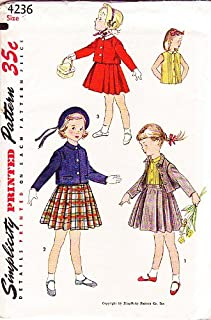 Simplicity 4236 Girl's Child's Two-piece Suit and Blouse Vintage 1953 Sewing Pattern