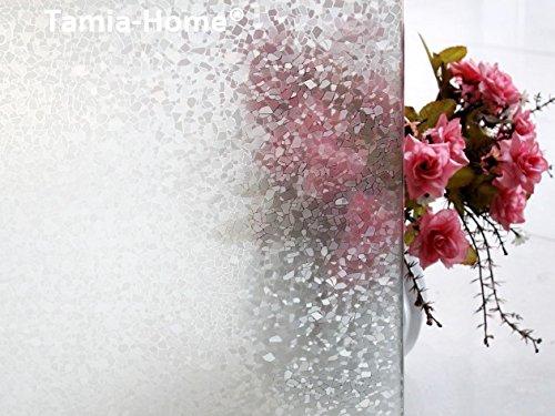 Tamia-Home 8K-29HS-WKFK Statische raamfolie, 90% uv-zonwering, zelfklevende privacyfolie, glasdecoratie, steengoed Vormen en strepen 90 x 150 cm melkwit, semi-transparant